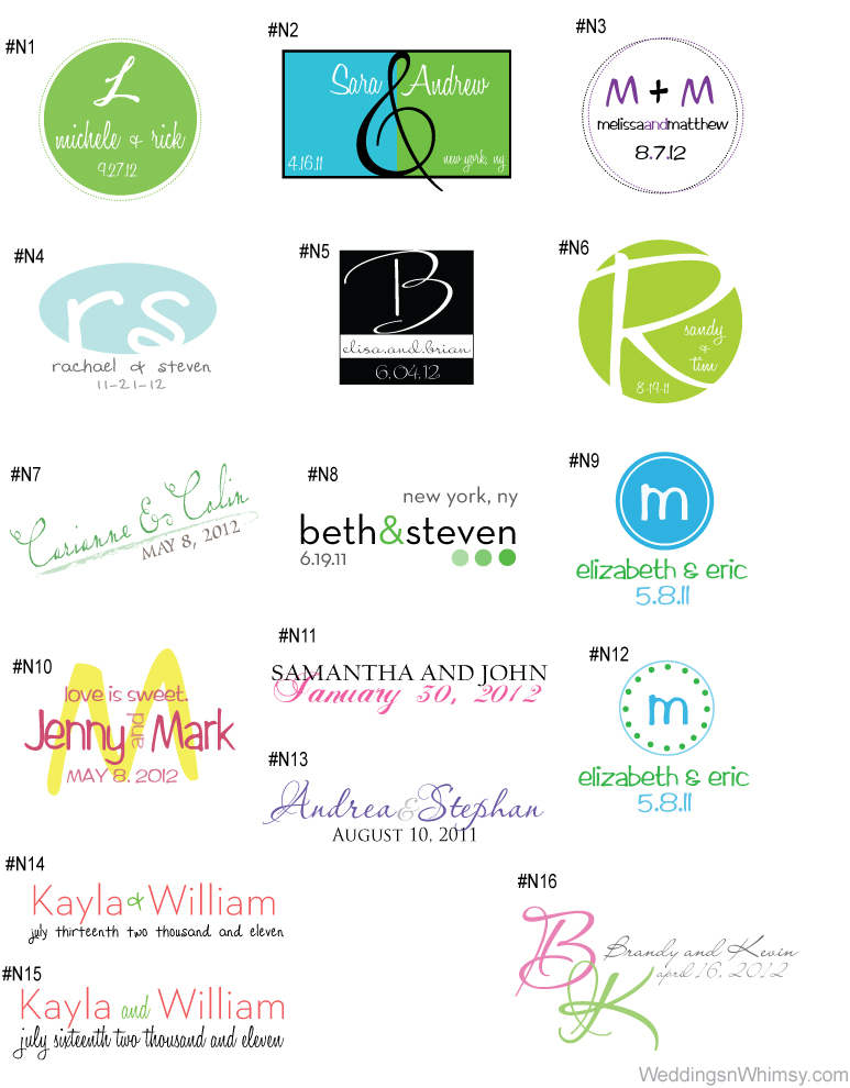 monograms logos wedding event custom personalized initials