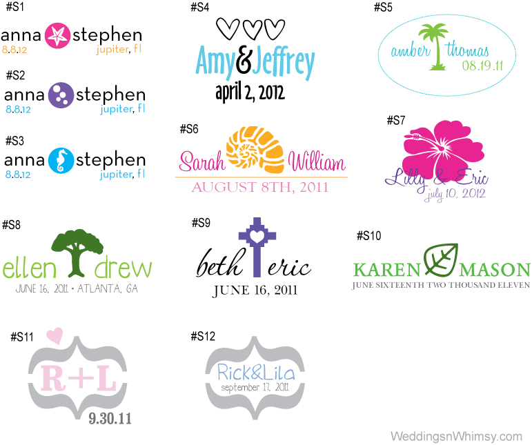 monograms logos wedding event custom personalized symbols beach flower cross leaf tree hearts